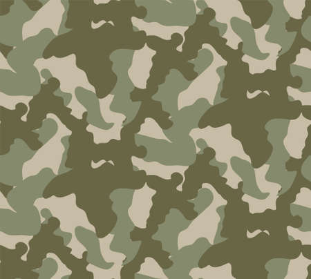 Seamless camouflage pattern. Khaki texture, vector illustration. Camo print background. Abstract military style backdrop 免版税图像 - 157581838