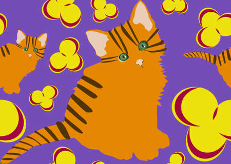 Cute floral pattern with cats. Colorful flower vector