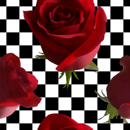 A pattern with red roses with green leaves against a black-and-white cell Ilustração