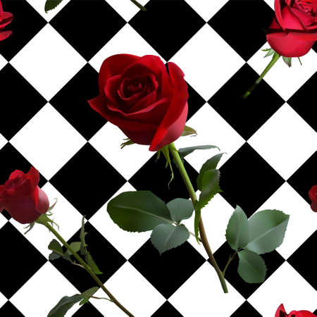 A pattern with red roses with green leaves and a long stem on the background of a black and white cell