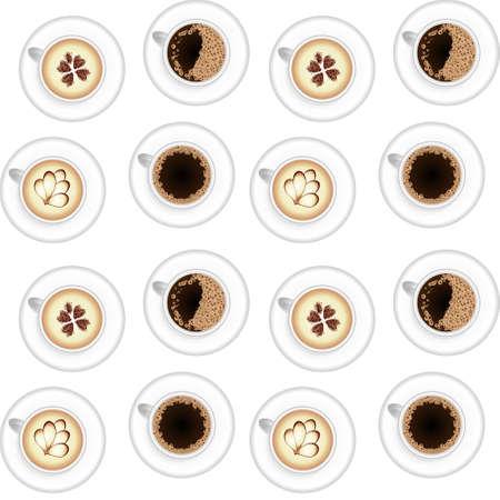 Different types of coffee, chocolate, cocoa Ilustração