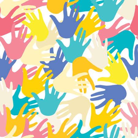 PATTERN with hands multicolor Ilustração