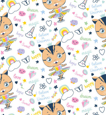 seamless pattern with dancing cat and decorative elements