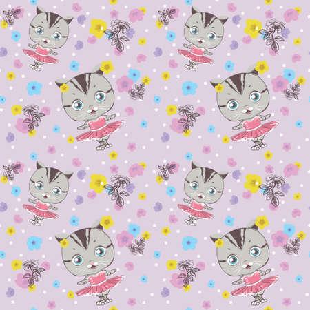 Vector dancing cat. Pink Ballerina