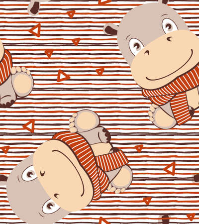 Cute cartoon hippo in kawaii style on lines painted pattern with triangles.