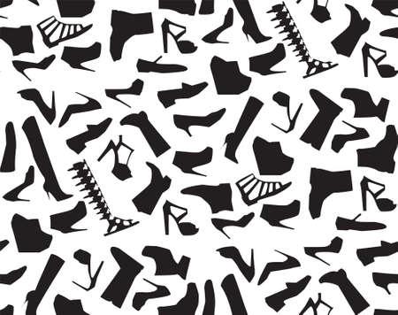 Different shoes black icons. women s shoes symbol illustration. Ilustração