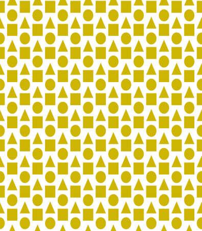 Yellow vector background with triangles, circles, cubes. Illustration with set circles, triangles, squares. Ilustração