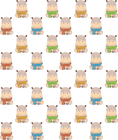 hippo pattern.Cute cartoon hippo in kawaii style. Isolated on white background.