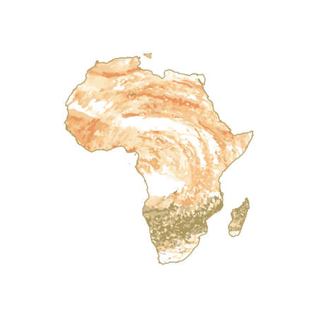 Vector map Africa. Isolated vector Illustration. Orange watercolor effect.