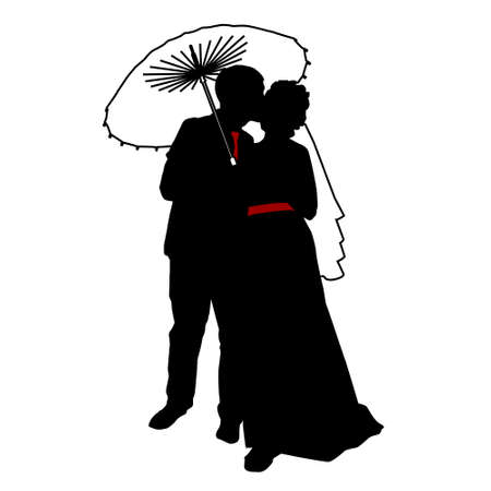 vector , isolated, silhouette , wedding, bride and groom