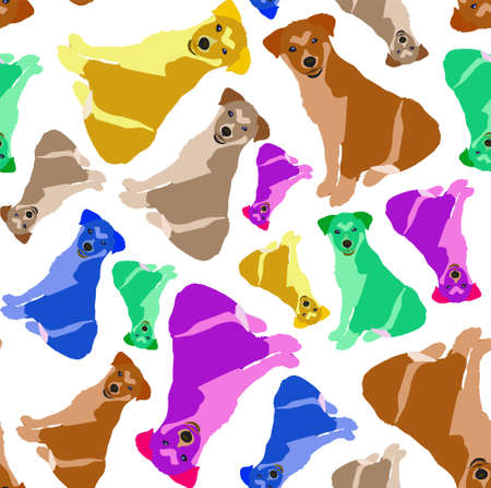 Pug. Vector seamless pattern dog pattern 矢量图像