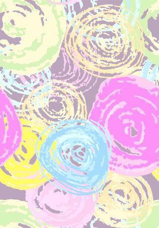 bright green, pink, blue, yellow artistic pen circles. Hand painted watercolor circles,vector 矢量图像
