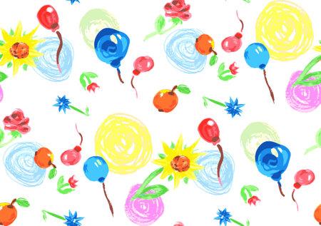 fun pattern circles, balls, flowers, apples