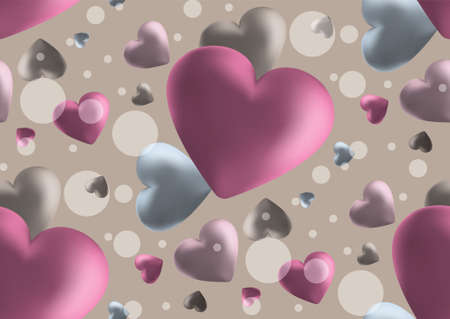 Pink Valentine s Day background with 3d hearts. Vector illustration. Cute love valentine banner