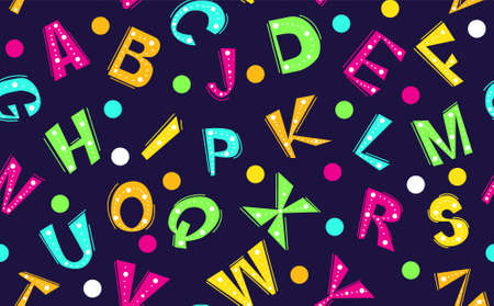 Alphabet Design in Six Colors, Four Versions solid and outlined letters on black and white backgrounds.