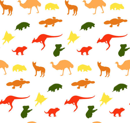 pattern with silhouettes of animals australia different color 矢量图像