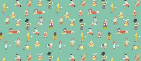 pattern with multiracial kids or children playing with multicolored easter 矢量图像