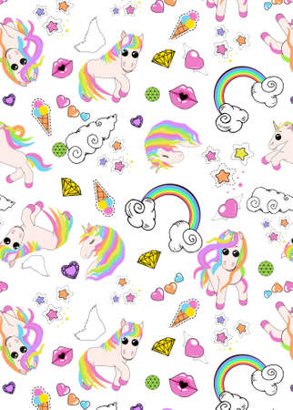 pattern with unicorns, rainbow, clouds, heart with wings, lips, stars