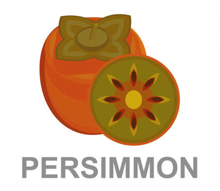 Persimmon icon entirely and in a cut 矢量图像