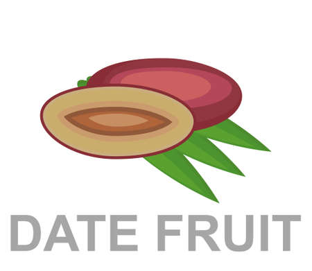 Date fruit icon entirely and in a cut 矢量图像