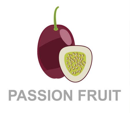 Passion fruit icon entirely and in a cut 矢量图像