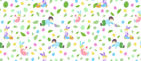 pattern with little boy and girl in different poses, easter eggs and branch with leaves and flowers in pastel colors
