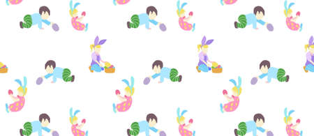 pattern with little boy and girl in different poses in pastel colors