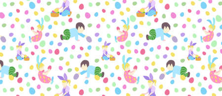 pattern with little boy and girl in different poses and easter eggs in pastel colors