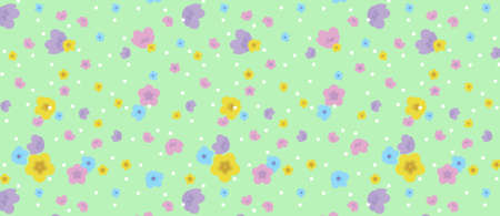 pattern with multicolor flowers on green background. Spring flowers