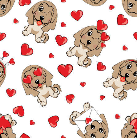 A pattern with small brown dogs with red hearts on a white background. 免版税图像 - 164473526