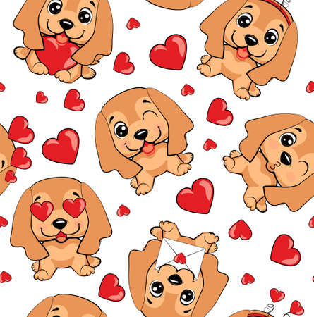 A pattern with small brown dogs with red hearts on a white background. 免版税图像 - 164220831