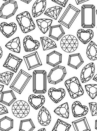 pattern diamonds, precious stones of different forms of cut.