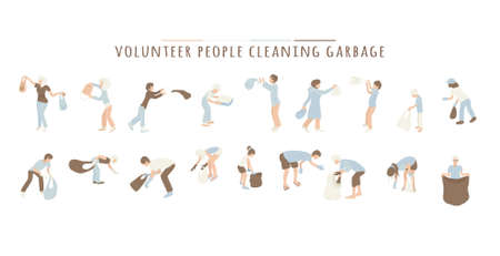 Volunteer People Cleaning Garbage on white background.