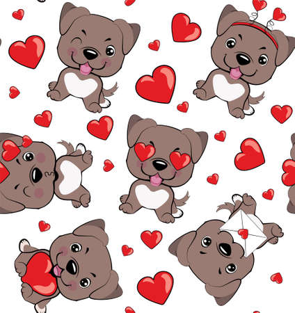 A pattern with small brown dogs with red hearts on a white background.