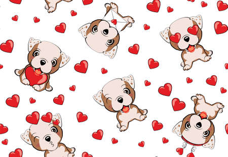 A pattern with small brown dogs with red hearts on a white background. Bulldog - vector illustration.