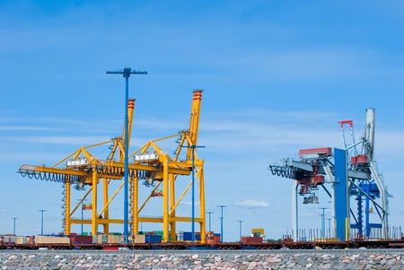 Containers loading at sea trading port Stock Photo - 12489067