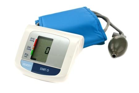 blood pressure bulb: Medical instrument for measuring pressure on a white background