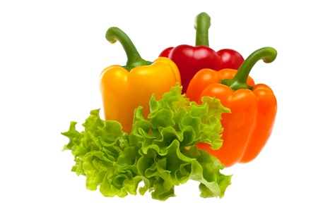 peppers and lettuce on white background removed
