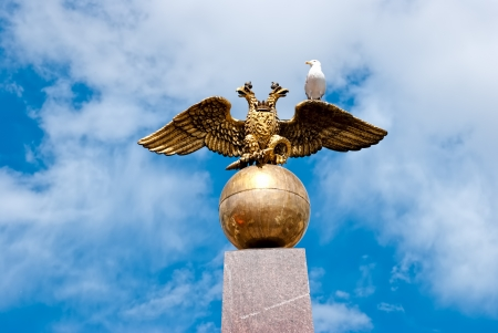 doubleheaded: Double-headed eagle on the central square of Helsinki  Stock Photo