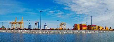 Panorama shot port in Finland  Port of Helsinki  photo