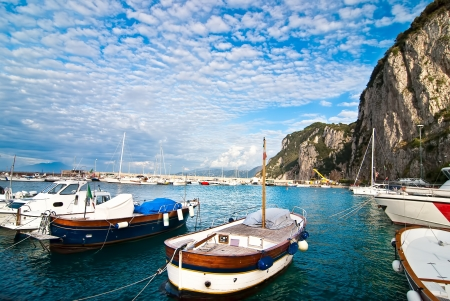 Fishing boats in port on the island of Capri  Stock Photo