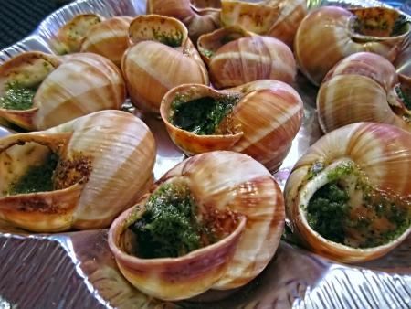 lumaca: Lumache cotte in una ricetta speciale. Parigi. Francia.
