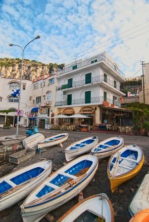Island of Capri  Fishing boats on the shore