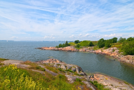The beach on the island of Suomenlinna  Finland  photo