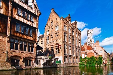 오래 된 도시의 전망. 브뤼헤. 벨기에.