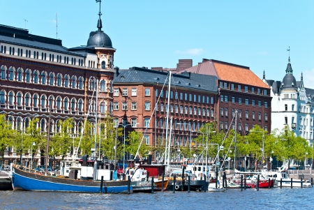 Old embankment Helsinki. The area of the old town. Stock Photo