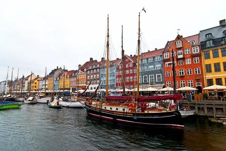 물가 코펜하겐. 오래 된 도시의 관광 장소. 스톡 사진