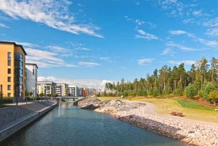 New area was built on the shores of the Gulf of Finland in Helsinki  photo