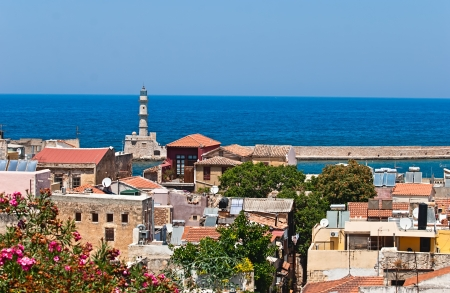 Chania 도시 크레타 섬, 그리스의 파노라마보기
