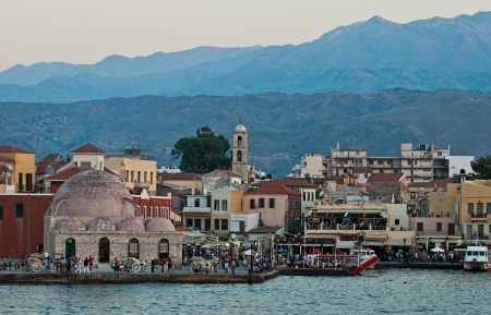 Panoramic views of the waterfront city of Chania  Crete  photo